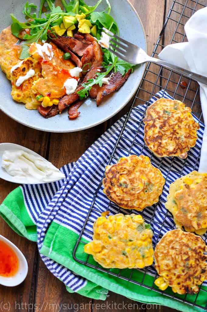 Healthy 5 ingredient sweetcorn fritter recipe that is quick and easy to make, sugar free, low carb and low fat.