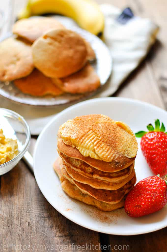My banana pikelet recipe stack enjoyed with a few strawberries and cinnamon butter.
