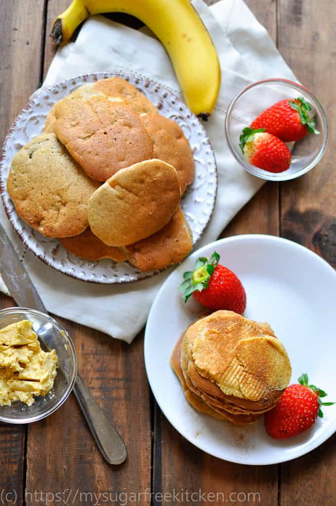 Lovely golden banana pikelets with a light spread of vanilla butter