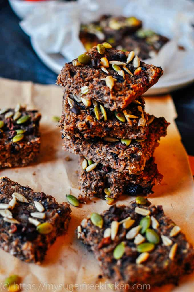 Healthy quinoa, coconut and nut slice recipe that is sugar free, dairy free and low carb!
