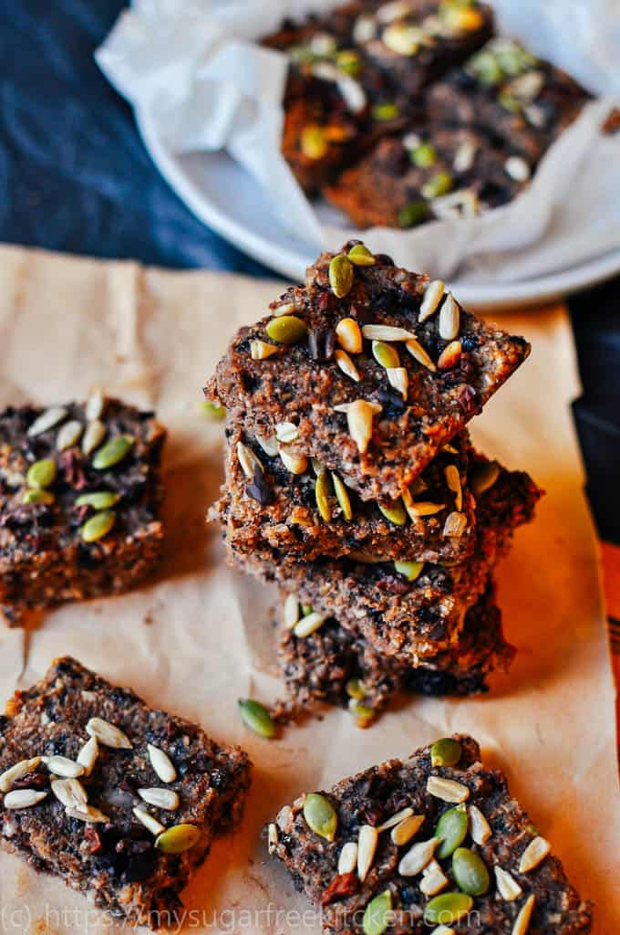 This sugar free quinoa and coconut slice is healthy and great for lunchboxes and snacks on the run