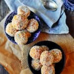 Healthy and easy to make sugar free mango and coconut protein ball recipe with 19 grams of protein