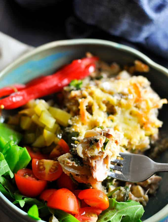 Easy to make tuna bake recipe with kale and broccoli and a crunchy cheese and crumb topping