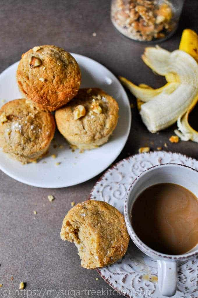 Healthy refined sugar free banana muffins with a cup of coffee for my morning snack.