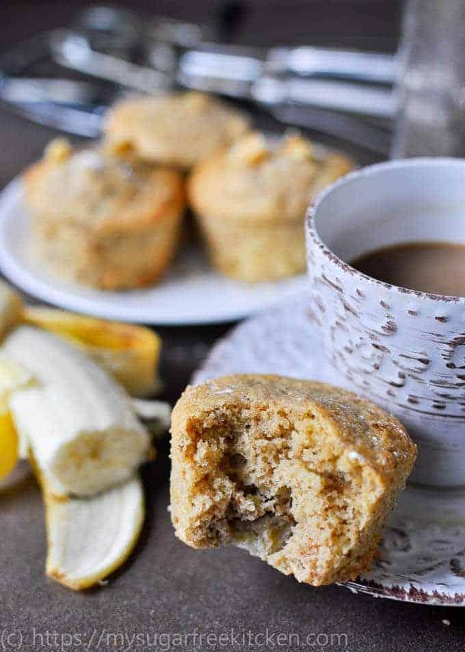 Light and fluffy sugar free banana muffin.