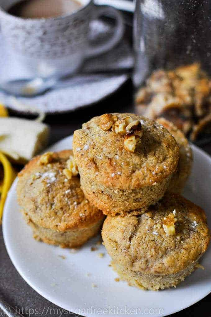Refined sugar free banana muffins are the perfect snack with coffee.