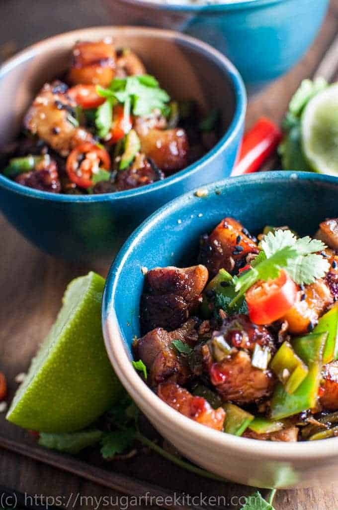 Asian Inspired healthy Hot and Sour Pork With Coconut Rice | Under 400 calories