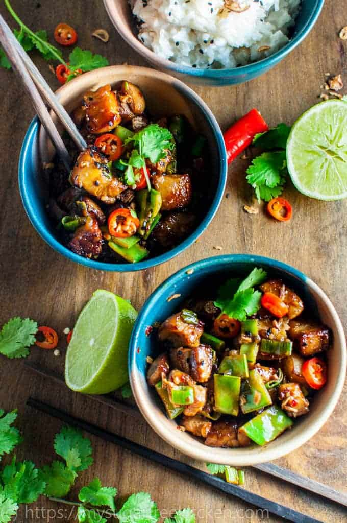 Lightened up and healthy hot and Sour Pork | Serve with Creamy Coconut Rice | Refined Sugar Free | Under 400 Calories