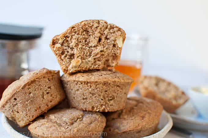 Healthy and sugar free apple ginger muffins sweetened naturally with stevia
