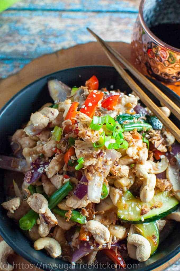 A delicious and healthy bowl of cashew nut chicken packed with veges, taste and flavour.