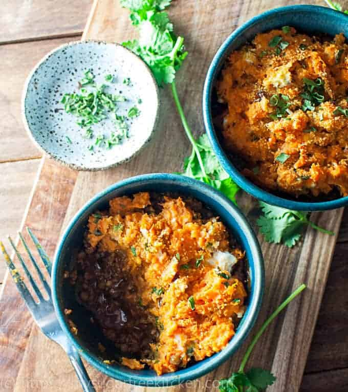 Make this Sweet Potato Shepherds Pie for dinner tonight and have it on the table in 30 minutes