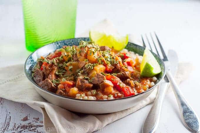 Easy moroccan beef strew, rich and hearty, full of aromatic spices.