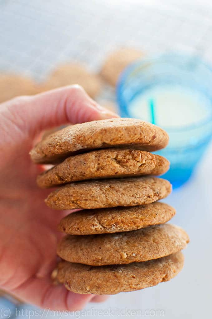 Enjoy these Almond Flour Peanut Butter cookies that are sugar free and high in protein.