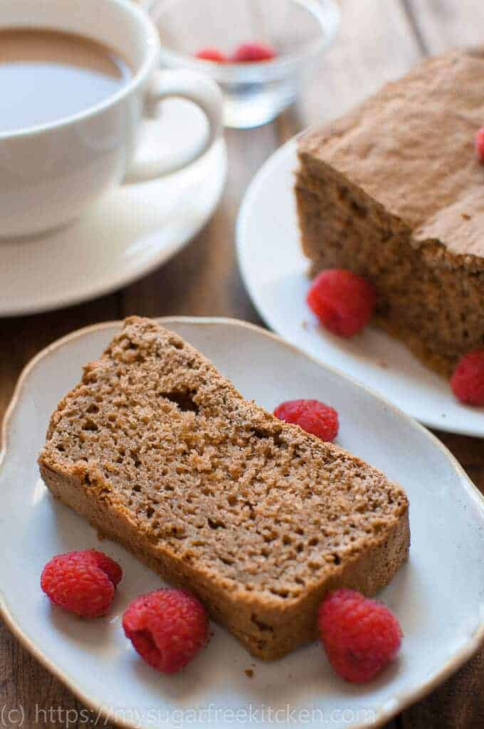 Sugar free gingerbread loaf fresh out of the oven, sliced and ready to be enjoyed with your morning coffee.