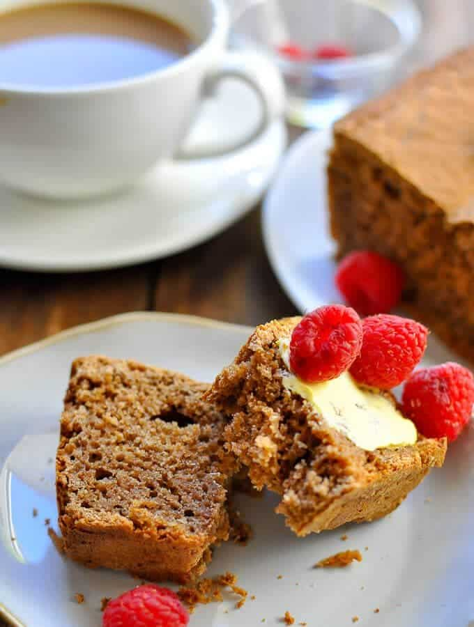 Sliced sugar free gingerbread with a thin layer of light butter and fresh raspberries is the best morning snack!
