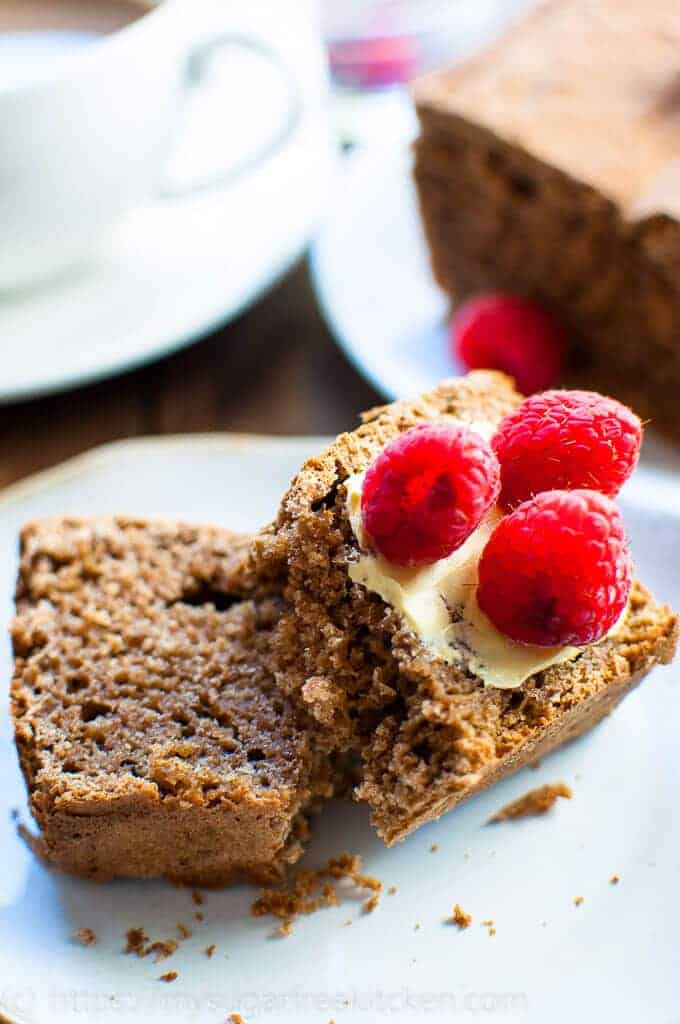 Sugar free gingerbread loaf that is light and healthy as well as low calorie, topped with reduced fat butter and fresh raspberries.