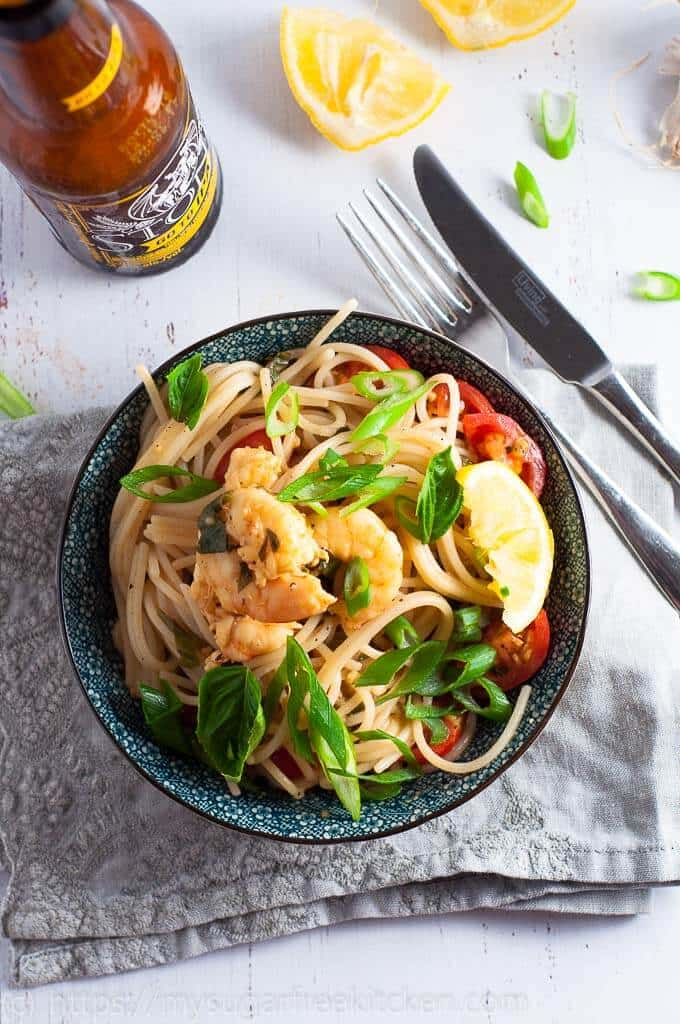 Healthy high protein prawn pasta with lemon garlic and spaghetti.