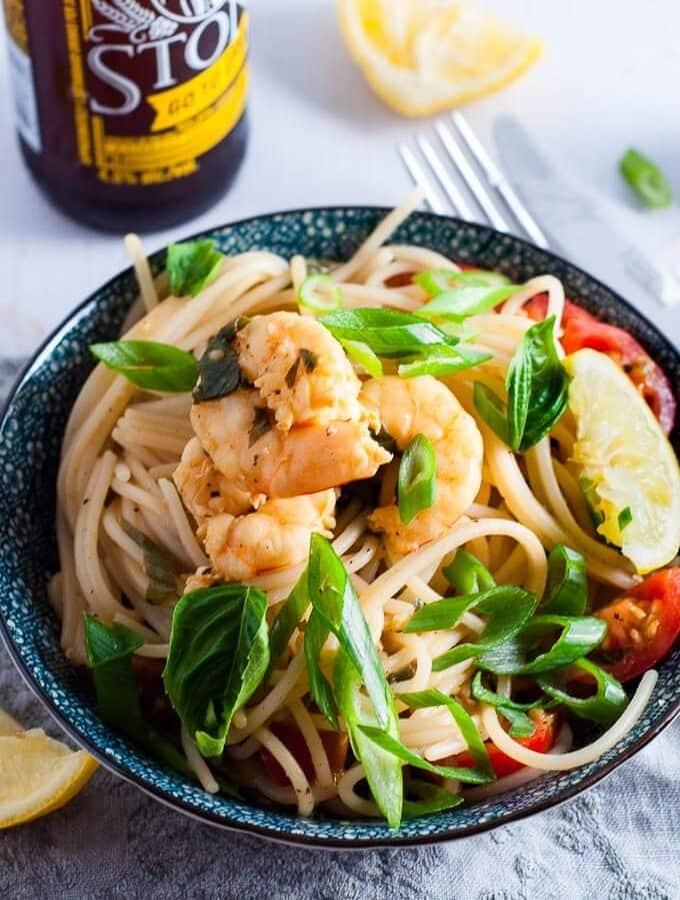 Lemon Garlic Prawns and Spaghetti Pasta