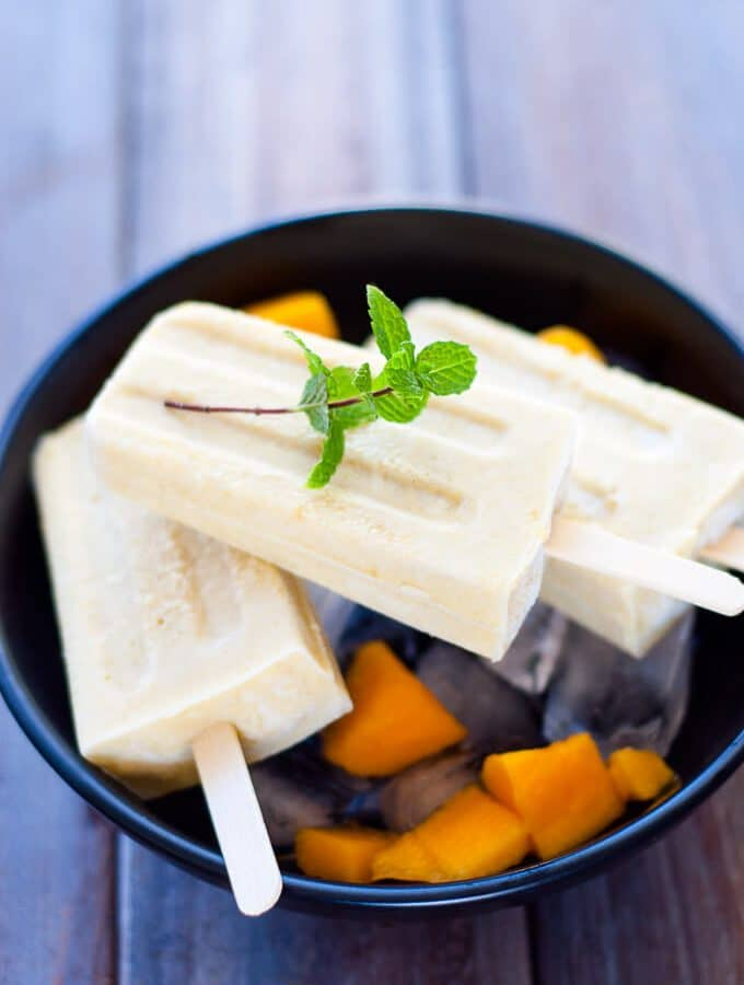 Make at home mango coconut popsicles