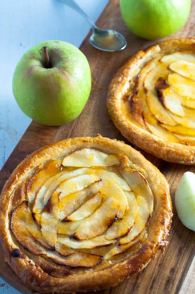 Low sugar apricot glazed apple tart is a dessert to satisfy your sweet craving as well as your pastry cravings!