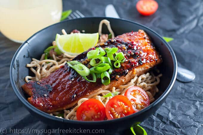 Healthy with bags of flavour is this Chilli Soy Salmon with Sesame Noodles