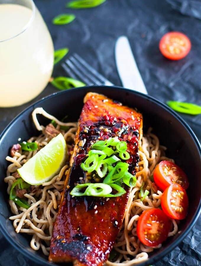 Chilli Soy Salmon with Sesame Noodles