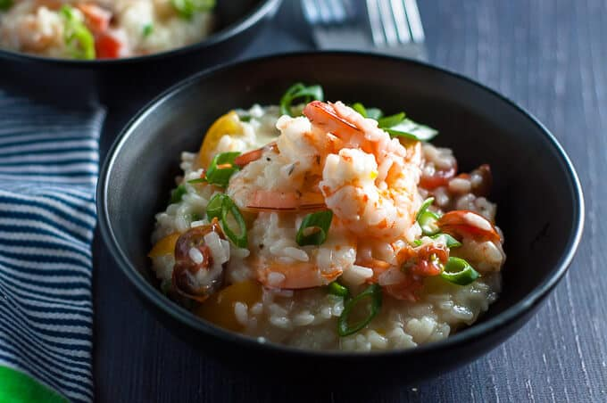 Garlic Prawn and Tomato Risotto that is light and creamy with big juicy prawns