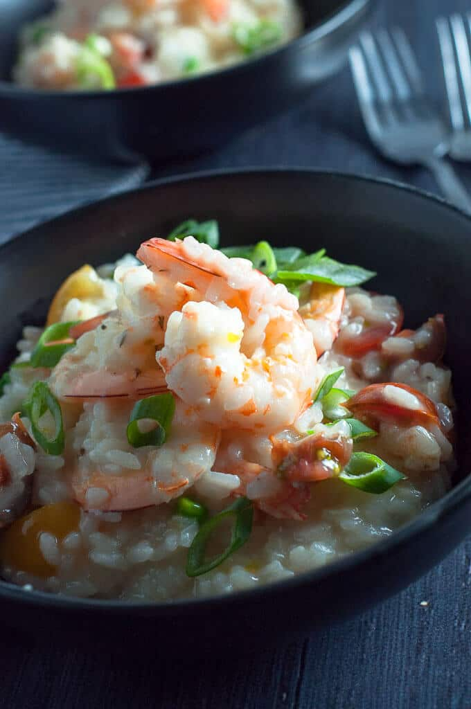 Garlic prawns and tomato risotto made with fresh juicy prawns