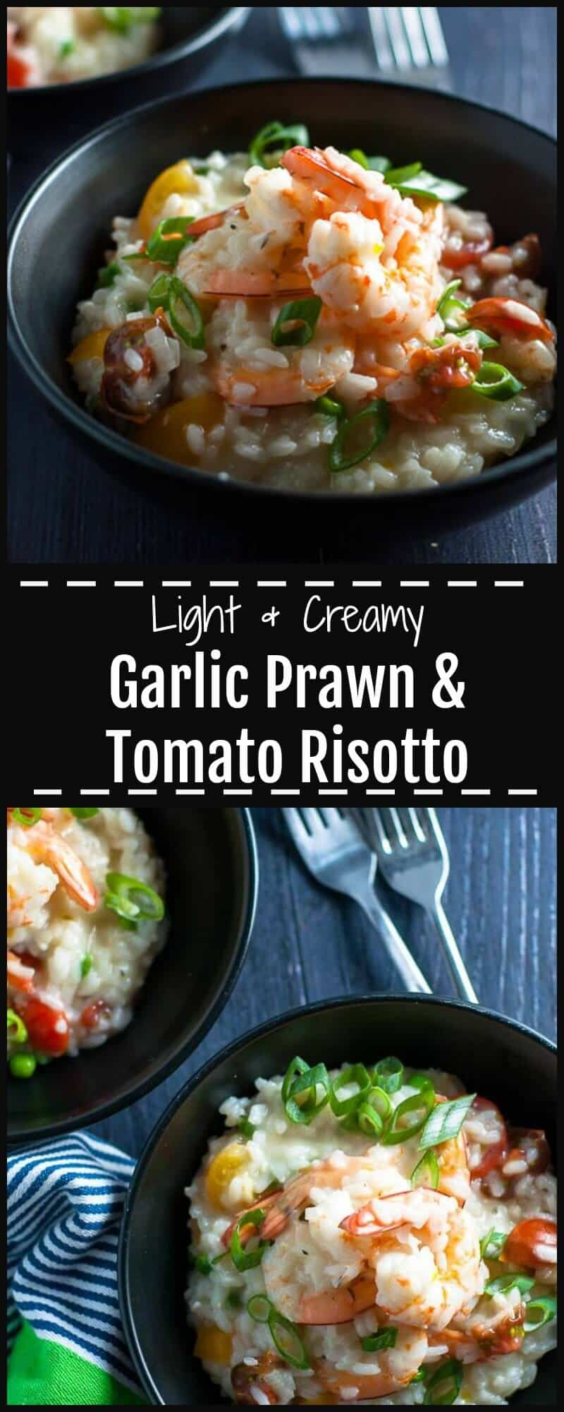 This Garlic Prawn and Tomato Risotto is light and creamy with big juicy prawns, bold garlic and rich colourful cherry tomatoes.  It's an easy and warming bowl of seaside seafood on a cool winters night.