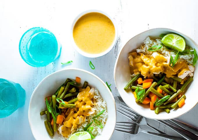 Healthy Chicken Satay Curry on the table in 30 minutes