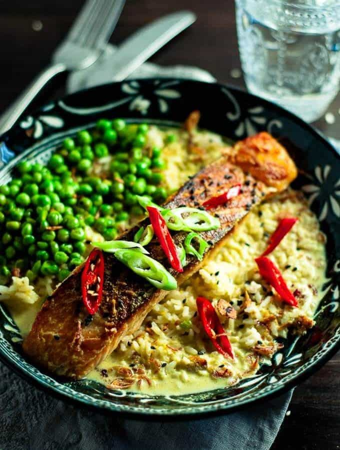 High protein, low calorie Salmon Curry In A Hurry - easy weeknight meal.