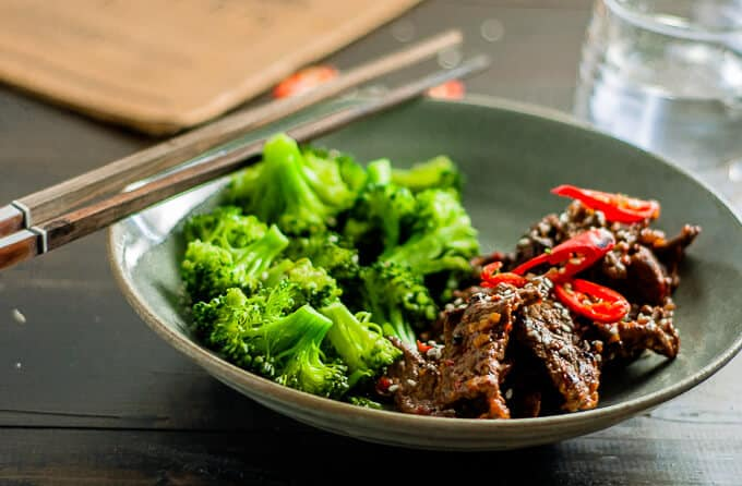 Healthy, quick and easy Sticky Chilli Beef and Broccoli