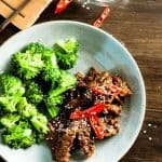 Sticky Chilli Beef and Broccoli on the table in 15 minutes