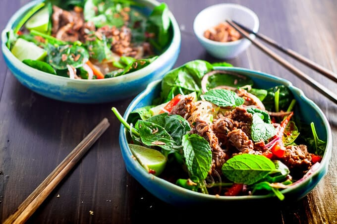 Crunchy Thai Beef Salad loaded with lively fresh citrus flavours