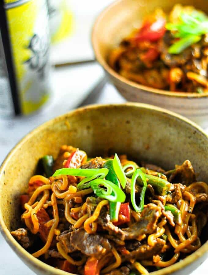 Beef Satay Curry Noodles on the table in 30 minutes