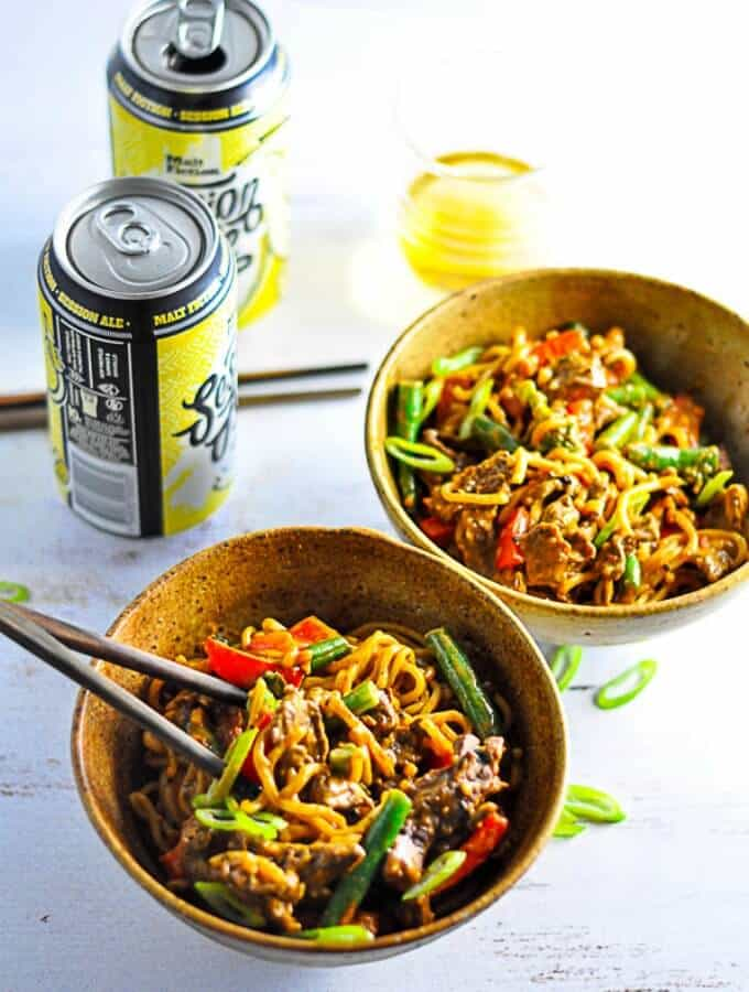Beef Curry Satay Noodles for two with a nice cold beer