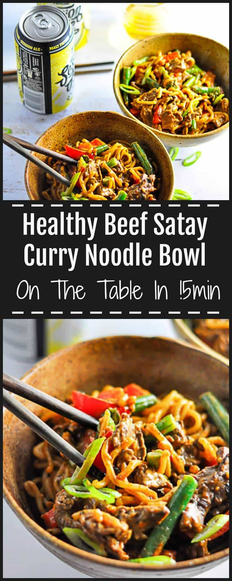 This Beef Satay Curry Noodles has tender pieces of flavoursome meat covered in rich peanut sauce with lightly stirfried vegetables and silky noodles.