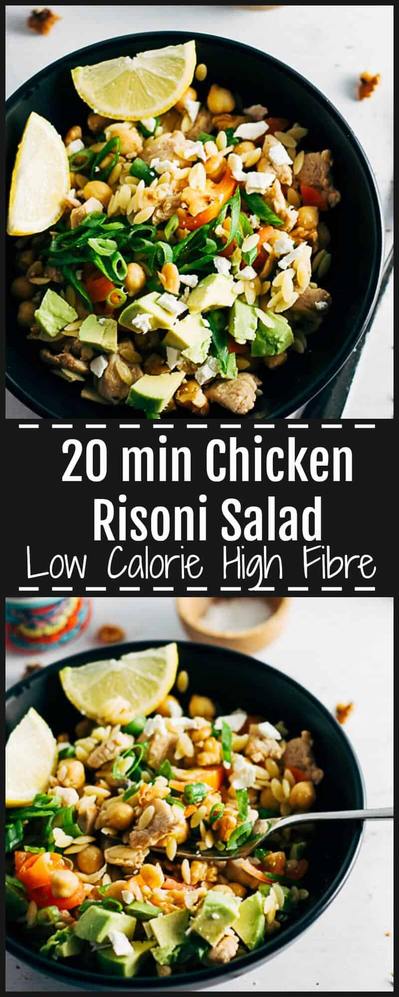 This Chicken Risoni Salad is light, refreshing, tangy and filling with walnuts, avocado & fetta. High in Fibre & protein & low in calories. Lunch or Dinner.