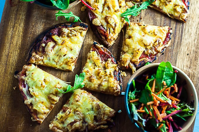Light and crispy Pocket Bread Pizza for two.