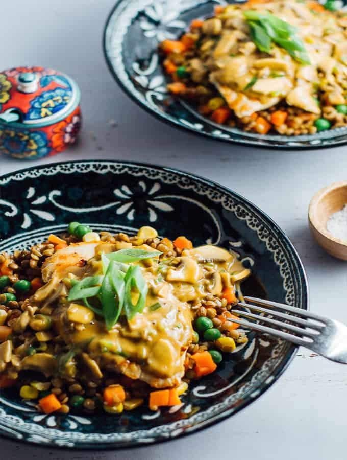 Creamy Garlic Mushroom Chicken with fork