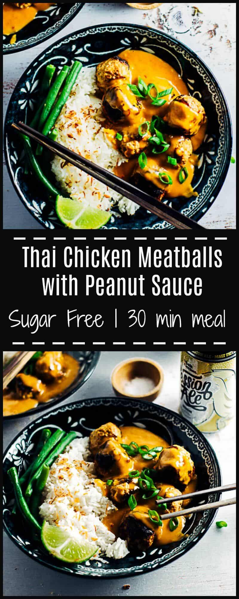 These Thai Chicken Meatballs with Peanut Sauce are lightly spiced, juicy and melt in your mouth, & the peanut sauce is so deliciously moreish you'll want to lick the plate.