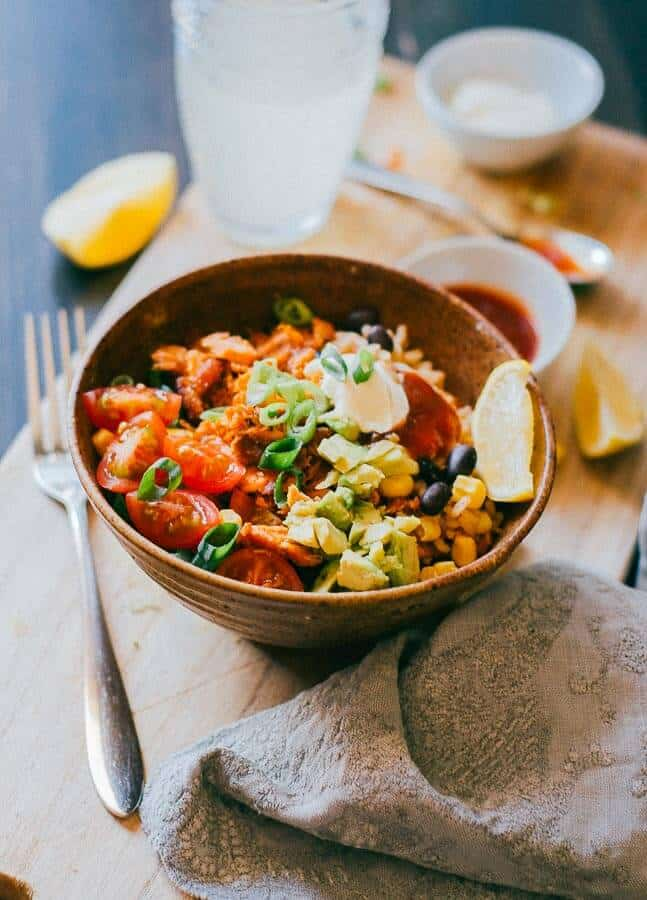 salmon burrito bowl with fork