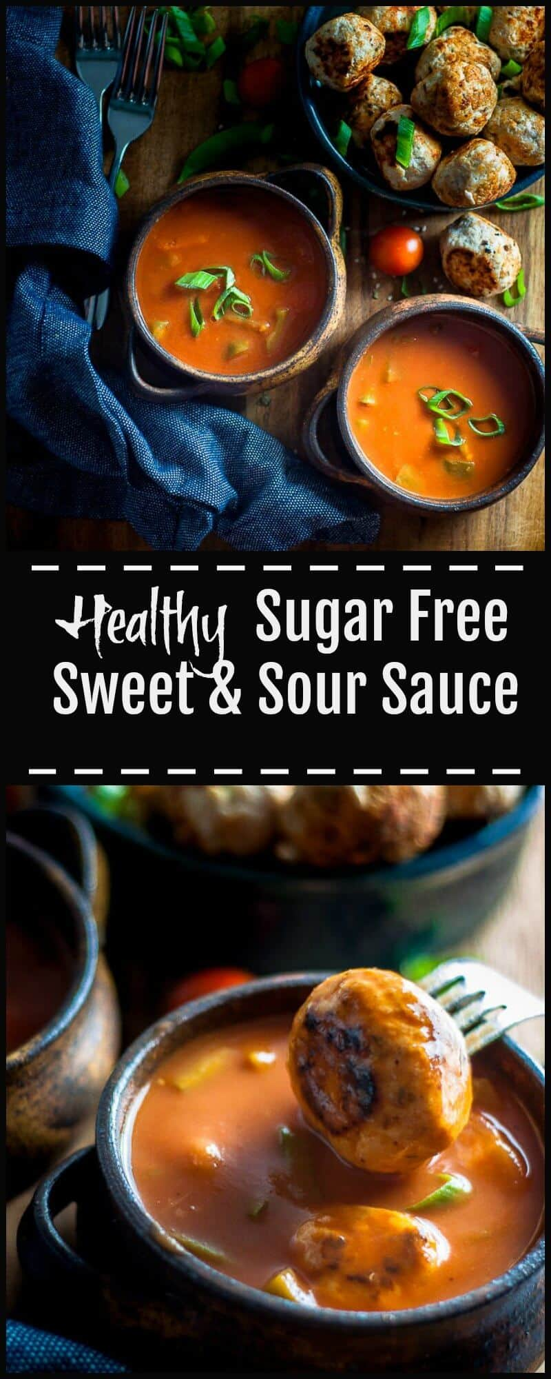 This Sugar Free Sweet and Sour Sauce is a healthy and versatile alternative to store bought or take out sauces.  It has a punchy tang from the pineapple, is thick and glossy and a rich vibrant shade of red all put together in around 10 minutes.