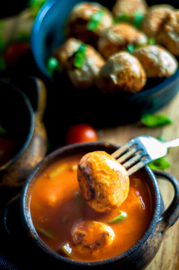 Meatball dipped in sugar free sweet and sour sauce