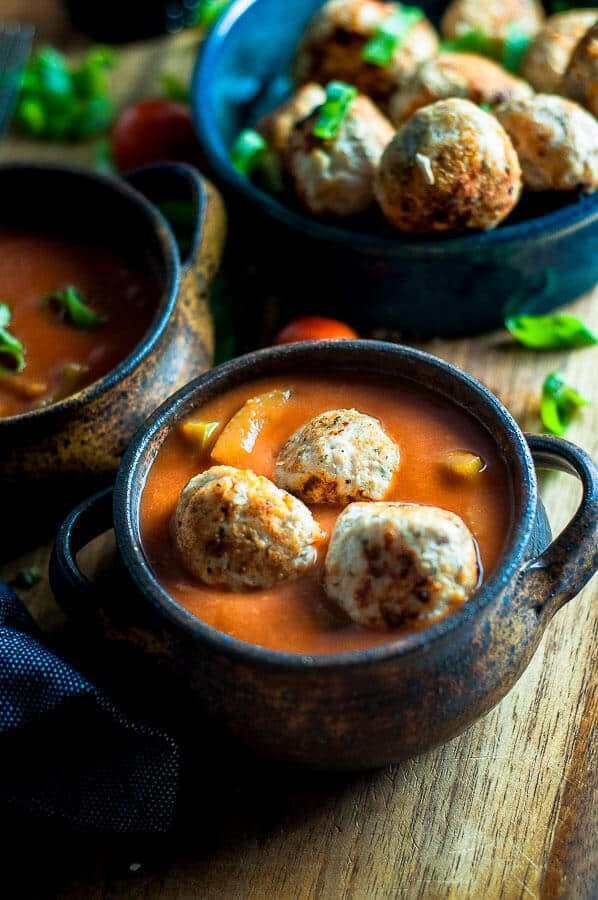 Three meatballs in a bowl of sugar free sweet and sour sauce