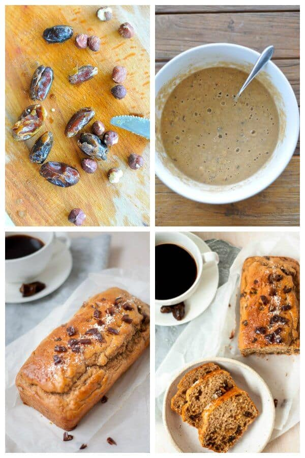 Healthy date loaf preparation photo collage
