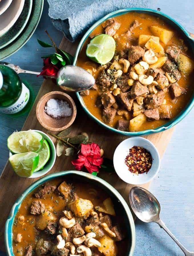 two blue bowls of pressure cooker massman curry
