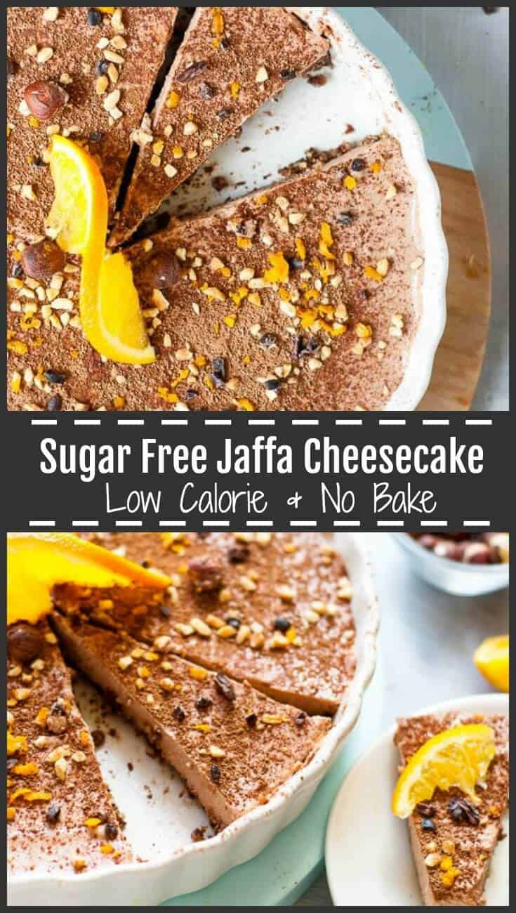 This no bake, sugar free chocolate orange Jaffa Cheesecake is smooth, rich and creamy, naturally sweetened with stevia, dates, fresh orange juice, and decadent cocoa powder for the ultimate cheesecake experience without the calories.